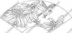 扇面花鸟 线描图片高清大图2下载