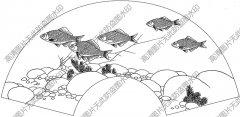 扇面鱼 线描图片高清大图54下载