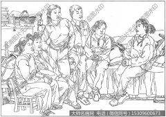 山村人物 白描图片高清18下载